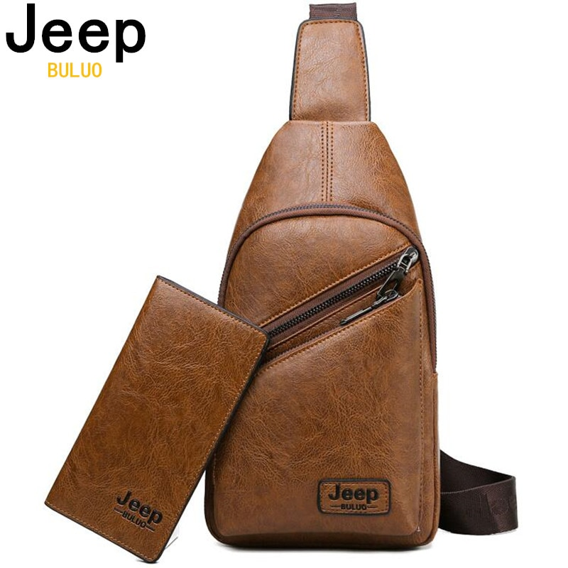 JEEP BULUO Brand Fashion Casual Men Bags Crossbody Bag Men Sling Bags And Wallet Leather Chest Bag F