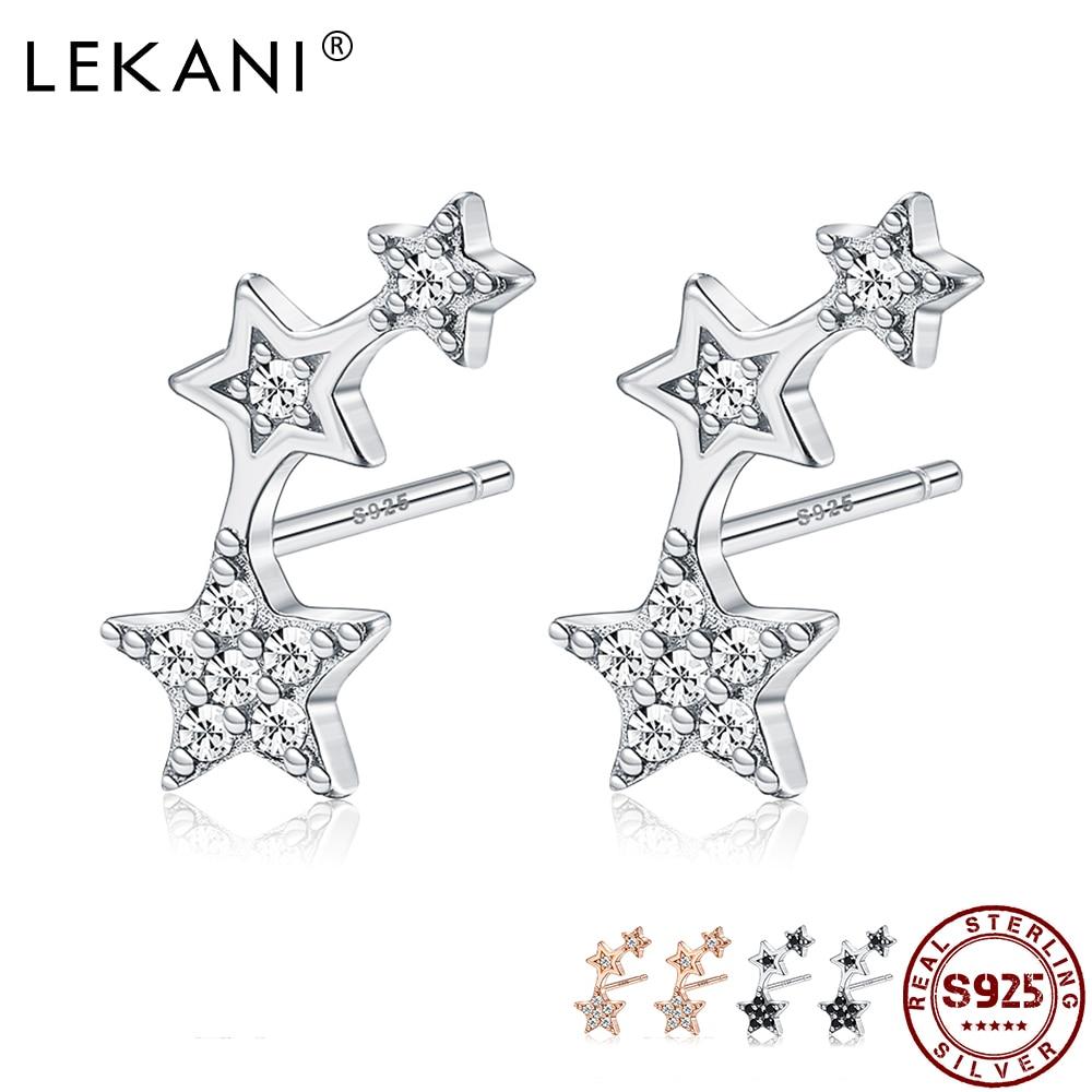 AliExpress - LEKANI  Genuine 925 Sterling Silver Woman Delicate Star Cubic Zirconia Earrings Female Fine Jewelry For Valentine's Day Gift