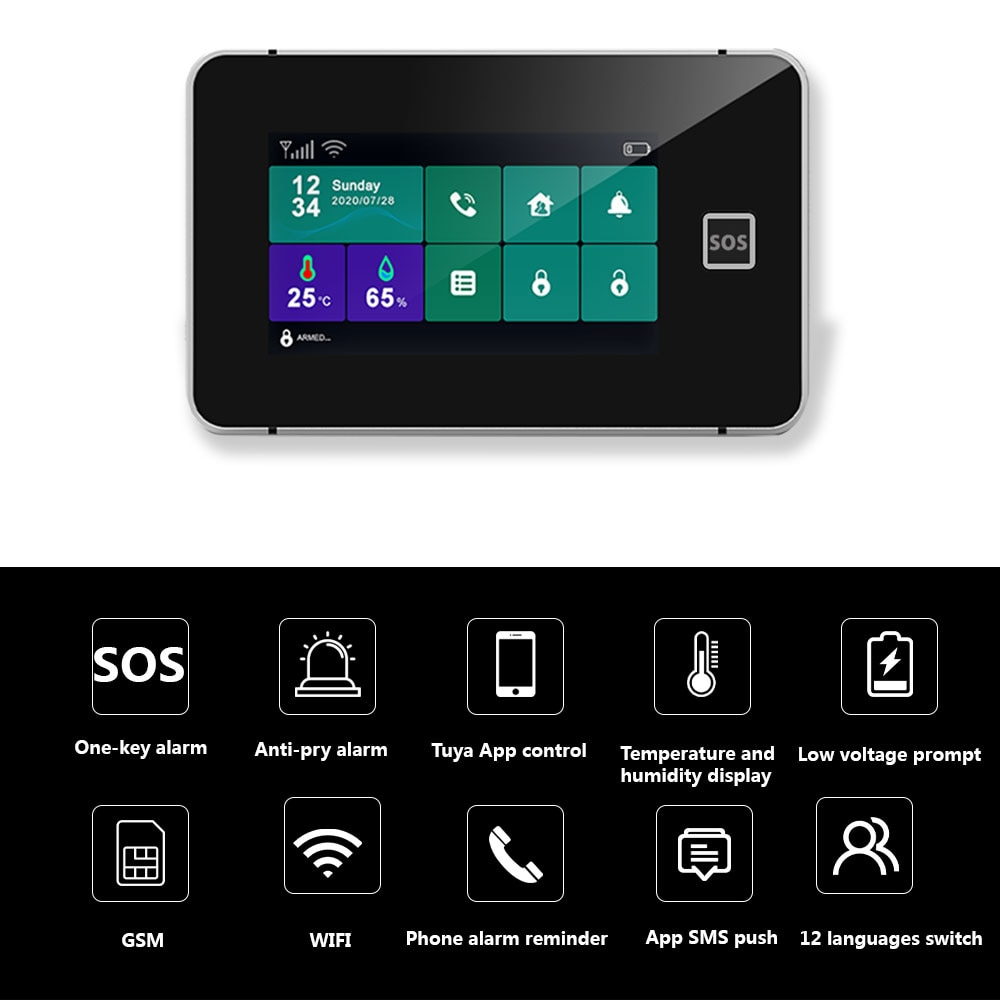 Zonan Home alarm system WIFI GSM Tuya Smart Home Garage Burglar Security Motion Detector Smoke Door Sensor Wireless Keypad enlarge