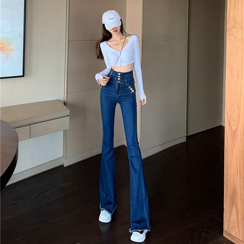 Internet Celebrity Children Korean-style Bell-Bottom Pants chao gao yao Jeans Slimming Versatile Sig