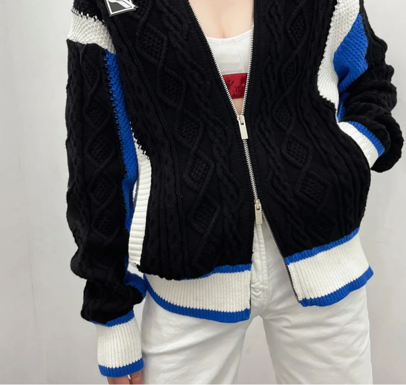 2021 New Autumn And Winter Cardigan For Women Fashion Leisure Car Jacquard Zipper Contrast Women's Sweater Knitted Jacket enlarge