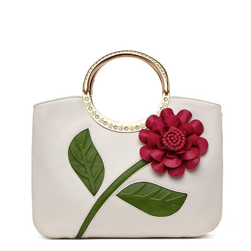 Bolsos De Mujer Retro estilo nacional bolsos de mensajero de piel para mujer flores 3D bolso de noche para novia Clutch bgas