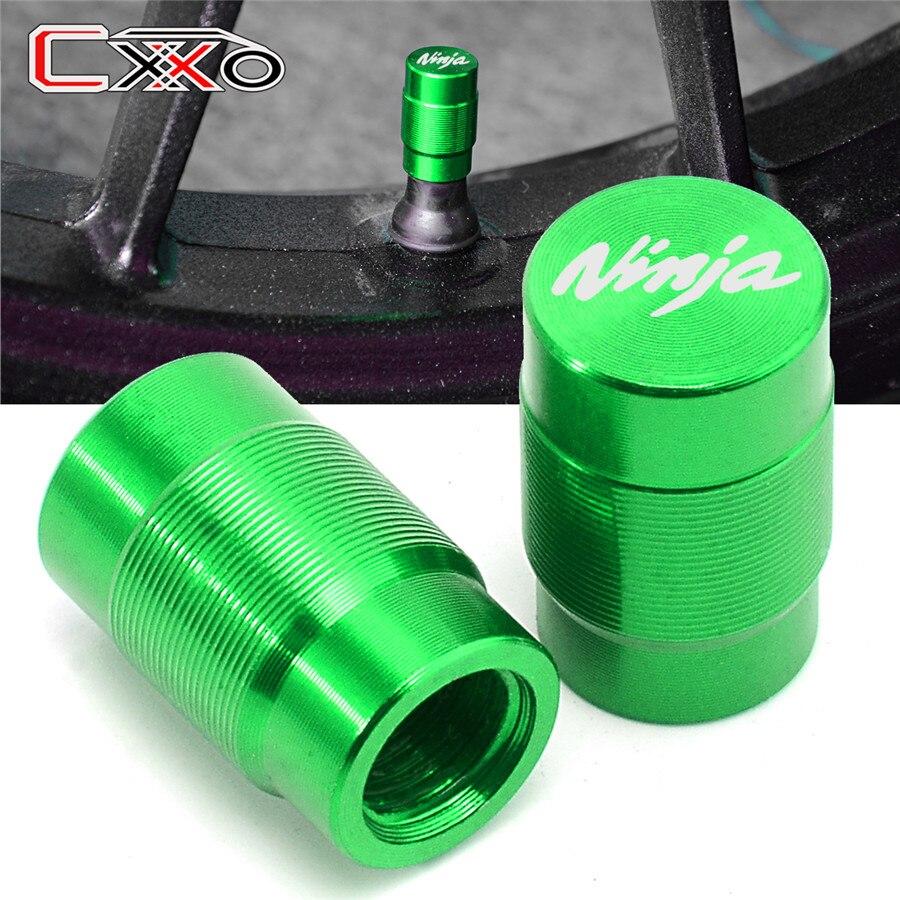 Para KAWASAKI Ninja 400, 650, 300, 250 250R Ninja H2R ZX14R ZX10R ZX6R Z1000SX de la rueda de la motocicleta casquillos de válvula del neumático hermético cubre