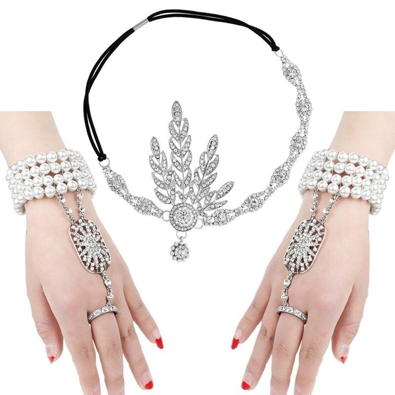 Hot 1920s Flapper Pearl pałąk bransoletka zestaw pierścieni Great Gatsby inspirowane liść symulowane 1920s zestaw biżuterii akcesoria kostiumowe