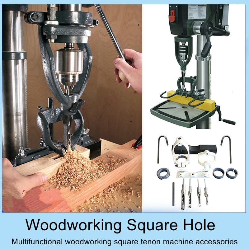 Woodworking Square Hole Tenoning Machine Bench Drill Square Tenoner Equipment Wood Punching Equipment DIY Square Hole Punch Tool 1pcs woodworking square hole drill bearing steel square hole opener square tenon drill square eye drill punching angle