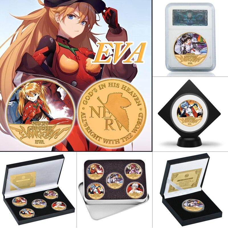 WR Anime japonés moneda coleccionable chapada en oro con carcasa para monedas medalla monedas de desafío conjunto de regalos de recuerdo Original Dropshipping