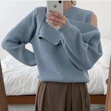 Korean Ins Fashionable Stylish Retro Minority Design Unilateral Strapless round Neck Pullover Sweate