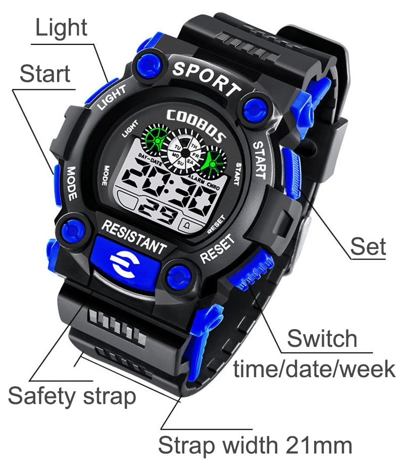 Fashion Men Digital Watches Waterproof Mens Sport Male Wristwatches  Military LED Men Electronic Watches