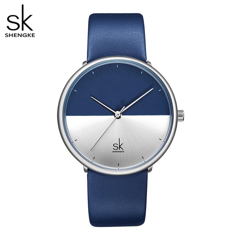 SK クリエイティブダイヤル腕時計女性は、カジュアルな革レディースレディース腕時計女性 2019 高級青色ファッションレロジオ Feminino
