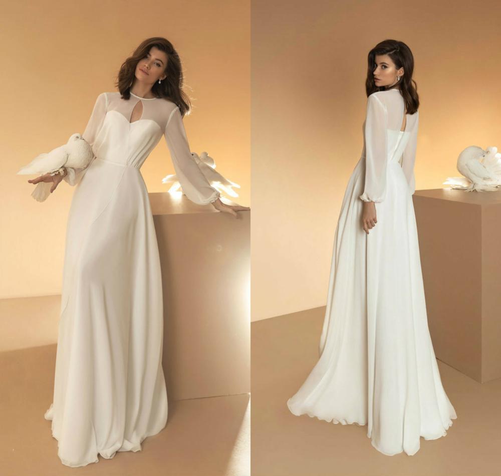 Review 2020 Boho Wedding Dresses With Jacket Chiffon Long Sleeves Wedding Dress A Line Custom Made Plus Size Vestidos De Novia