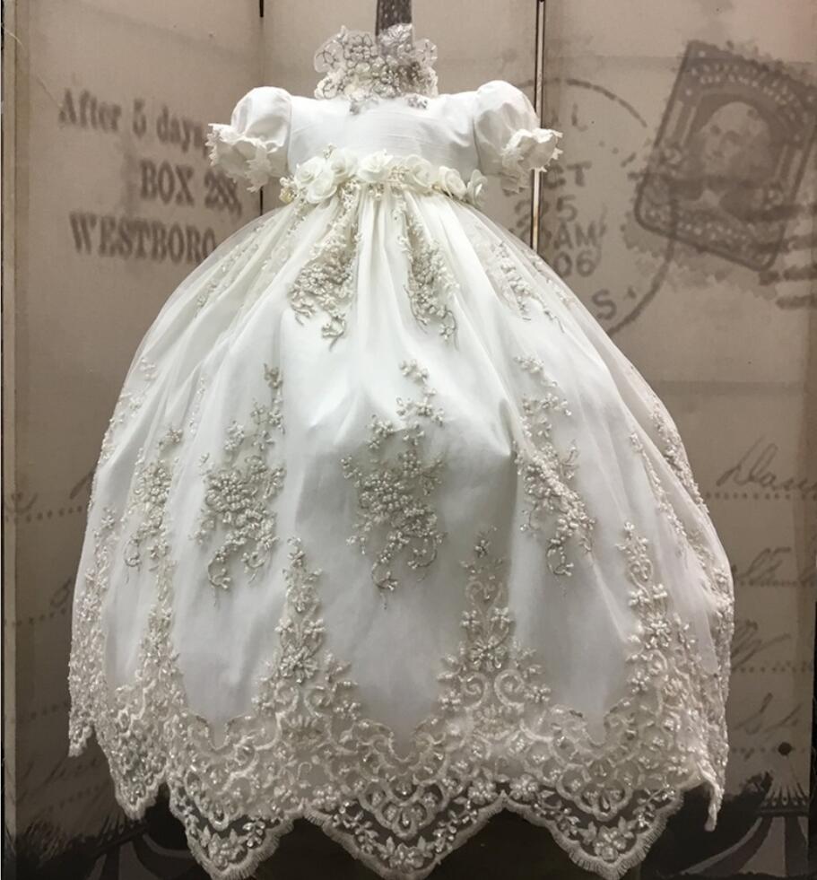 Encaje de color marfil, vestidos de bautizo para bebés, vestidos de bautismo para niños, vestidos Vintage de manga corta para niñas y niños, vestidos de bautizo con sombrero