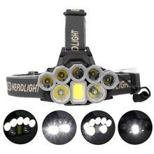 Ultra brillante 90000 lúmenes 2 * T6 + 5 * XPE + 1 * COB LED faros USB recargable impermeable caza senderismo pesca Zoom lámpara de cabeza