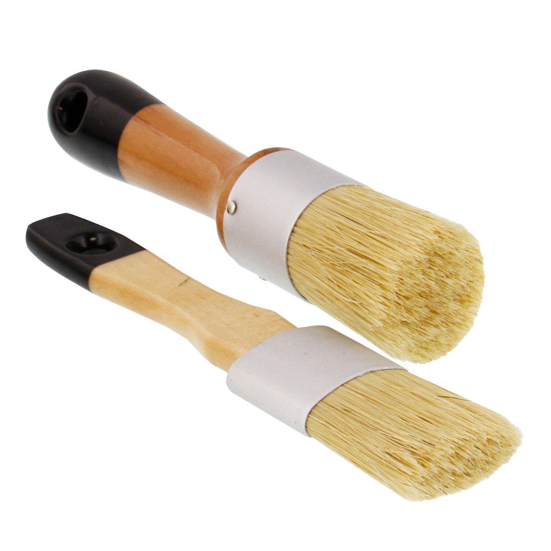 2 قطعة متعددة الاستخدام البيضاوي والطباشير المستديرة ، الشمع وفرش الاستنسل للكراسي والخزائن وغيرها من أثاث خشبي
