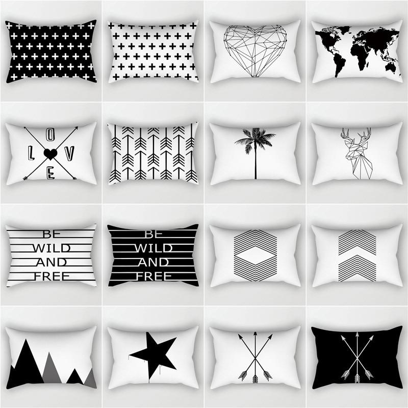 30X50CM Black And White Cushion Covers Modern Nordic Geometric Simple Waist Pillowcase Sofa Seat Bed Decorative Throw Pillows
