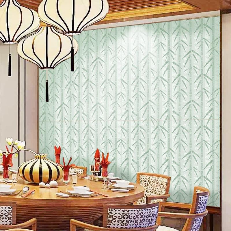 Papel tapiz de bambú verde Natural chino, sala de estar Mural para, dormitorio, Hotel, TV, adhesivos de pared, autoadhesivos de PVC