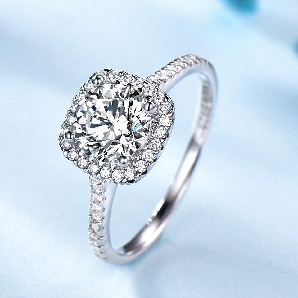 Anillos de circón cúbico redondo nupcial de lujo de plata 925 de UMCHO para mujeres, joyería fina de regalo de boda de compromiso solitario