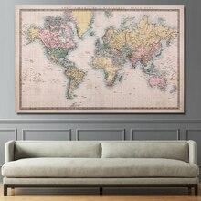 RELIABLI KUNST EINE Karte Der Welt Leinwand Gemälde Wand Kunst Bilder für Wohnzimmer Poster und Drucke Hause Dekoration unframed
