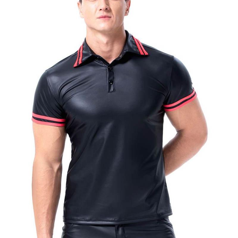 Camiseta Sexy ajustada para hombre, Polo de piel sintética, camiseta de fitness, camiseta negra de manga corta con efecto mojado