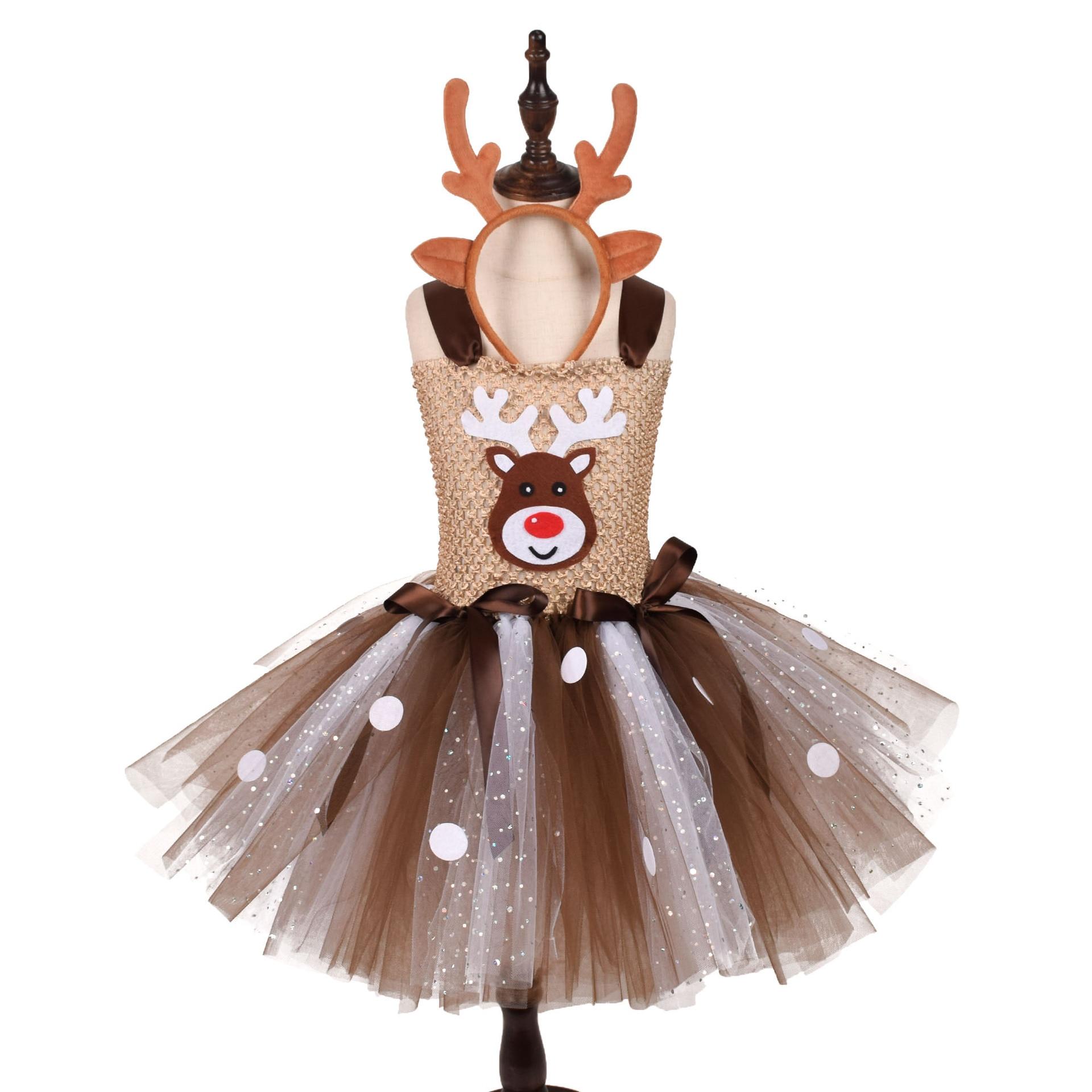 Christmas Cute Deer Tutu Dress for Girls with Hairband Halloween Cosplay Costume Kids Reindeer Princess Dresses cute unicorn mermaid reindeer costume cosplay girls tutu princess dress halloween costume for kids