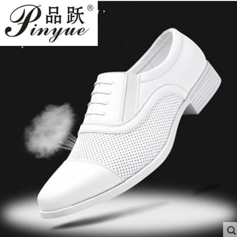 كبير حجم الأداء الأبيض الأحذية الجلدية الرجال ثلاثة مشتركة العسكرية الحذاء رجل الزفاف شبكة الأحذية الصلبة أوكسفورد ارتداء مقاومة