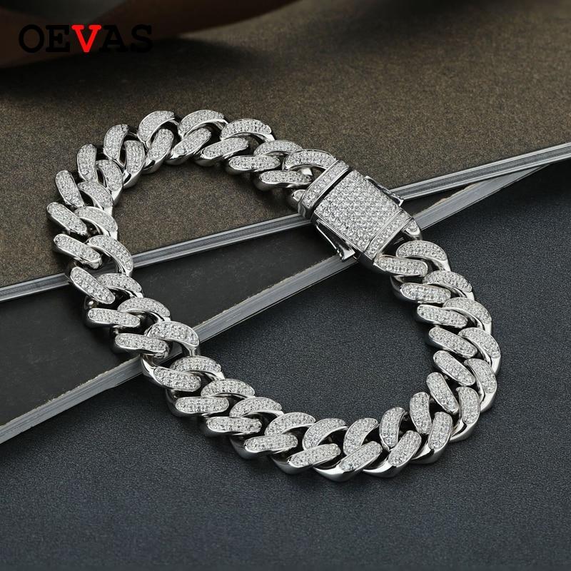 OEVAS 100% 925 Sterling Silver Sparkling High Carbon Diamond Rock Hip Hop Bracelet For Men Women Bracelet  Party Fine Jewelry