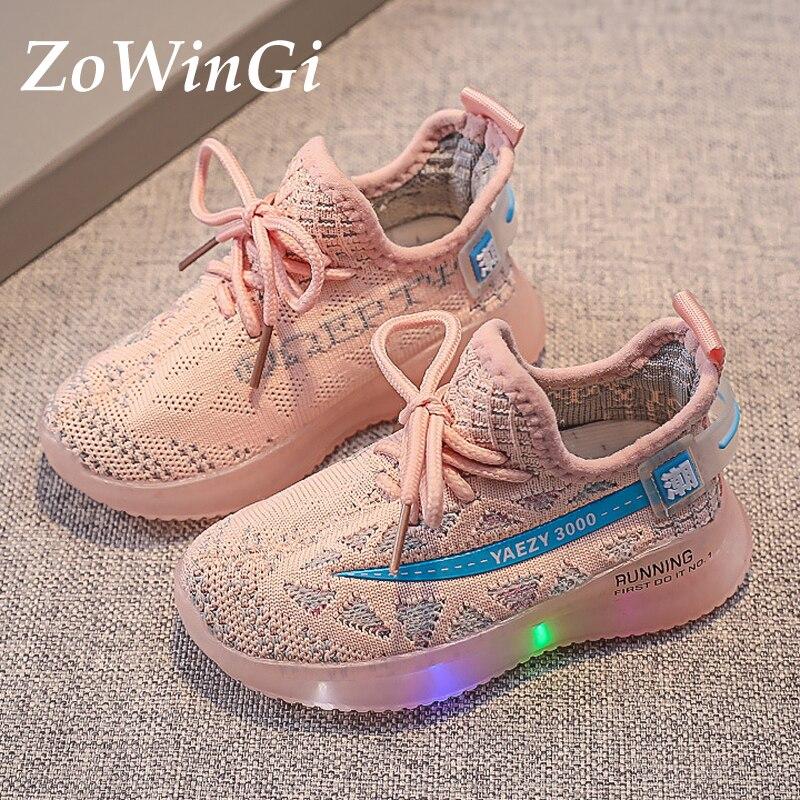 Tamanho 21-30 crianças respirável tênis crianças de pouco peso sapatos casuais brilhantes tenis infantil crianças sapatos led