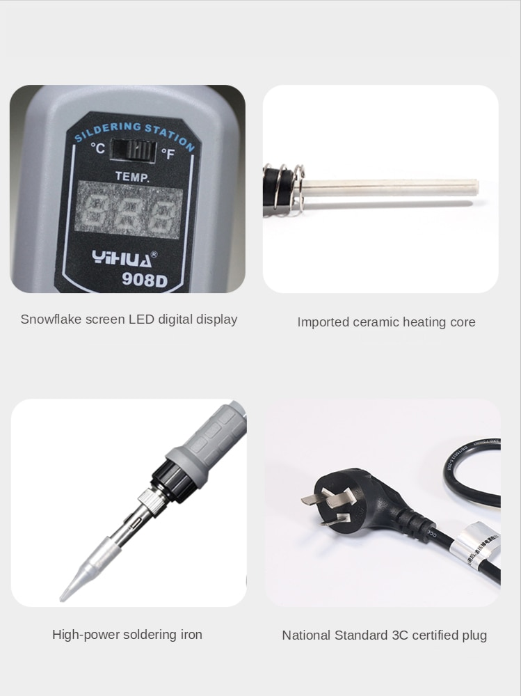YIHUA 908D Portable Electricity Soldering Iron Soldering Station Adjustable Welding Machines Precision Components Welding Repair enlarge