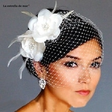 Offre spéciale oiseau Cage voile mariage voile Cage à oiseaux voile filet visage court plume fleur blanc Fascinator mariée chapeaux avec voile