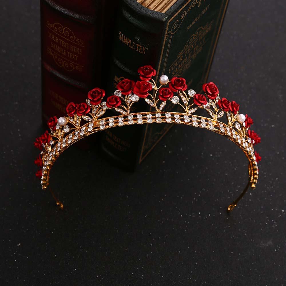 Rosa vermelha do vintage cristal nupcial hairband tiara cor de ouro princesa nupcial cabelo jóias casamento headwear acessórios para cabelo