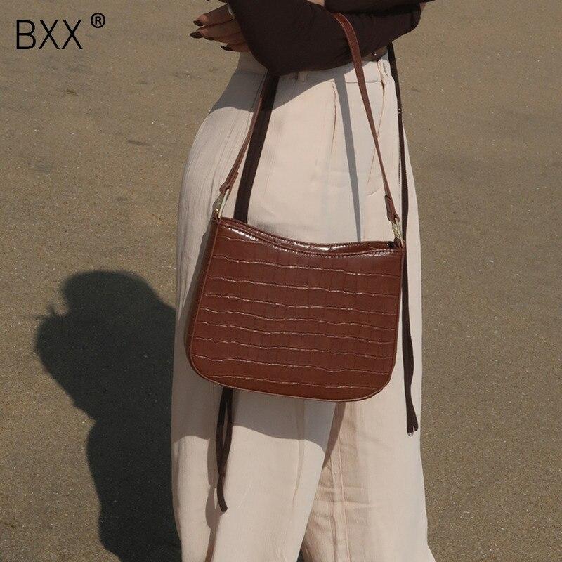 [BXX] Vintage Stone Pattern Design Bag 2021 Winter Luxury High Quality Women's Scrub Leather Handbag Shoulder Crossbody HQ146