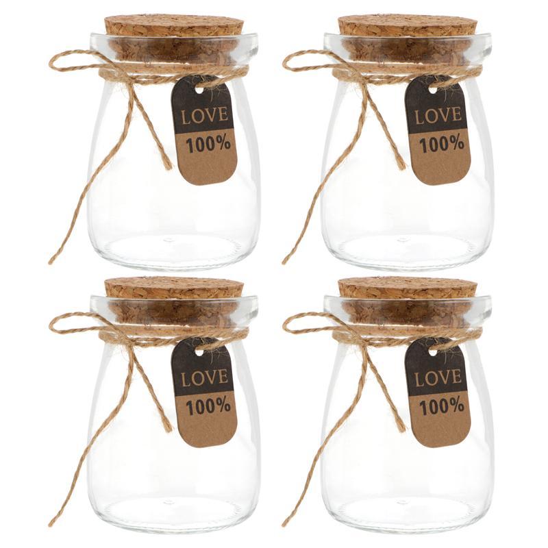 10 قطعة 100 مللي مقاومة للحرارة الحليب الزجاج زجاجات مع غطاء خشب الزبادي زجاجات المطبخ تخزين جرة حفلة orgبها بنفسك الحلوى Orgabizer