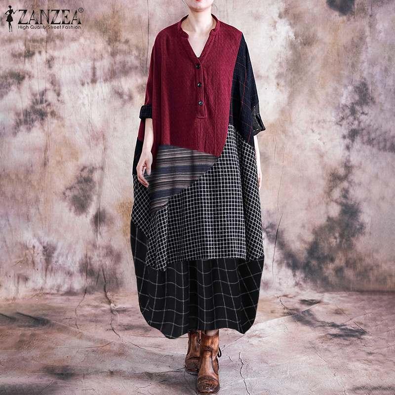 Vestido ZANZEA Vintage de primavera con cuello en V para mujer, Vestido a cuadros, Vestido de manga larga, Vestido de algodón, Vestido de lino