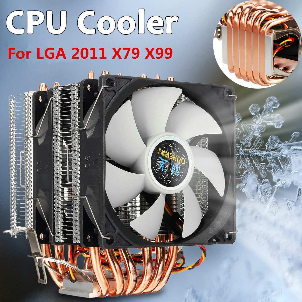 LGA 2011 RGB وحدة المعالجة المركزية برودة 6 أنابيب الحرارة المبرد مروحة التبريد 3Pin مروحة كمبيوتر ل X79 X99 1150/1151/1155/1156/1366/775 ل HUANANZHI