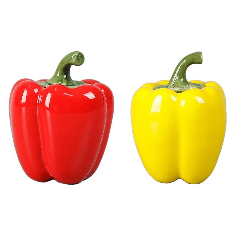 2 uds. Recipiente de cerámica para té con forma de pimiento trompeta, recipiente de almacenamiento portátil para llevar, decoración sellada, rojo y amarillo