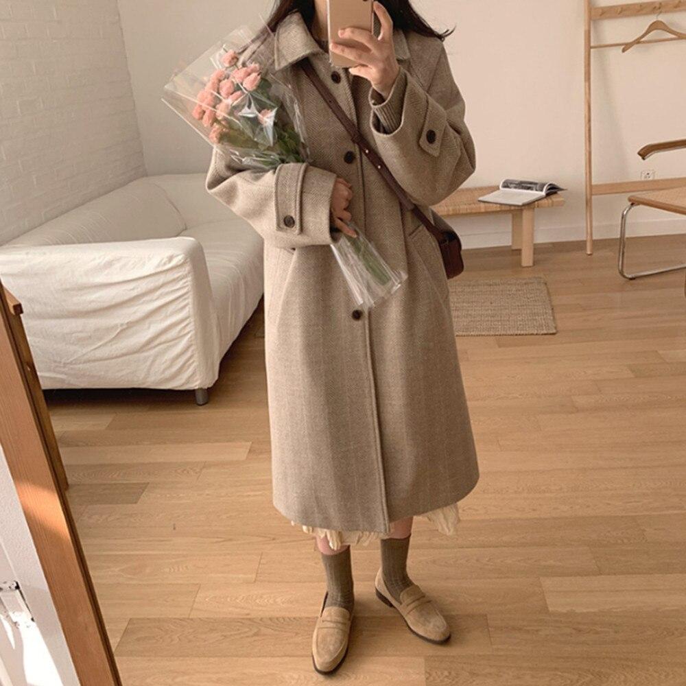 Women Elegant Long Solid Woolen Coat Long Sleeve Fashion Single Breasted Chic Outerwear Ladies Overc
