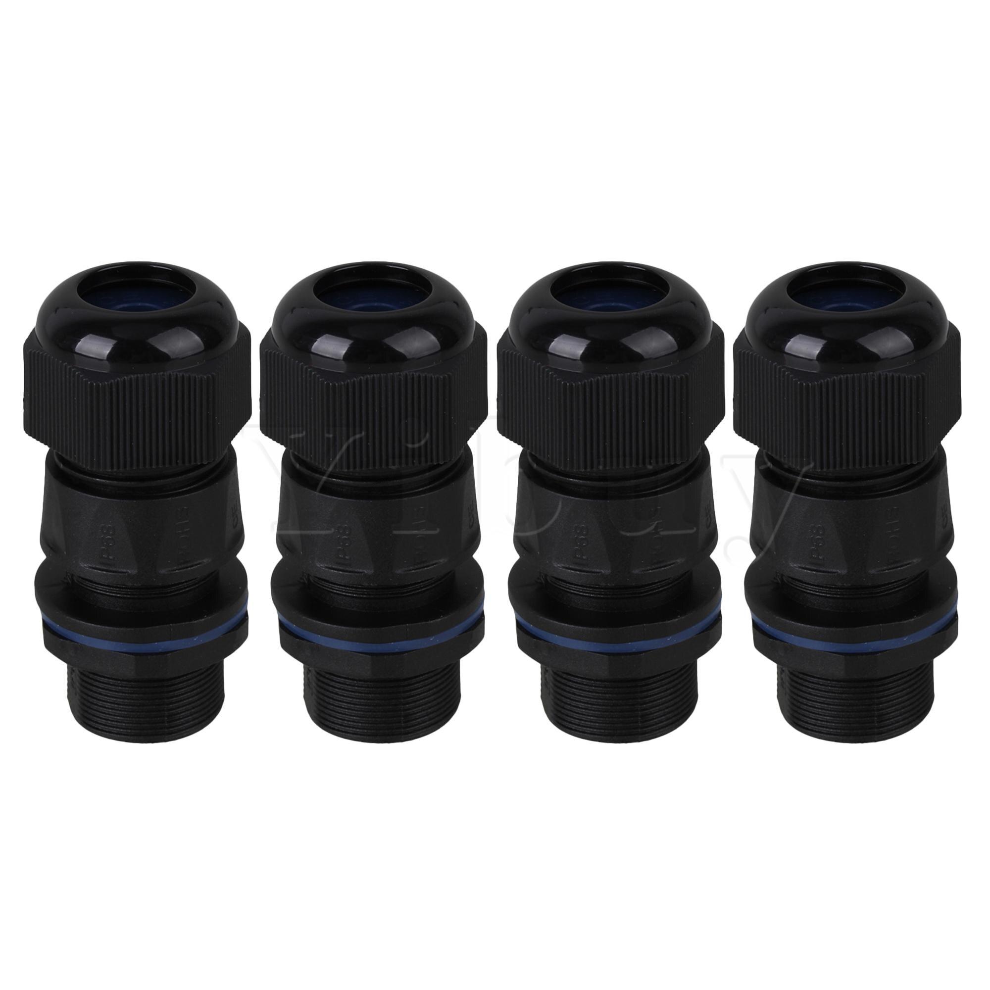 4 × أسود M20 موضوع لوحة كابلات الموصلات اللوازم الصناعية RJ45 IP68