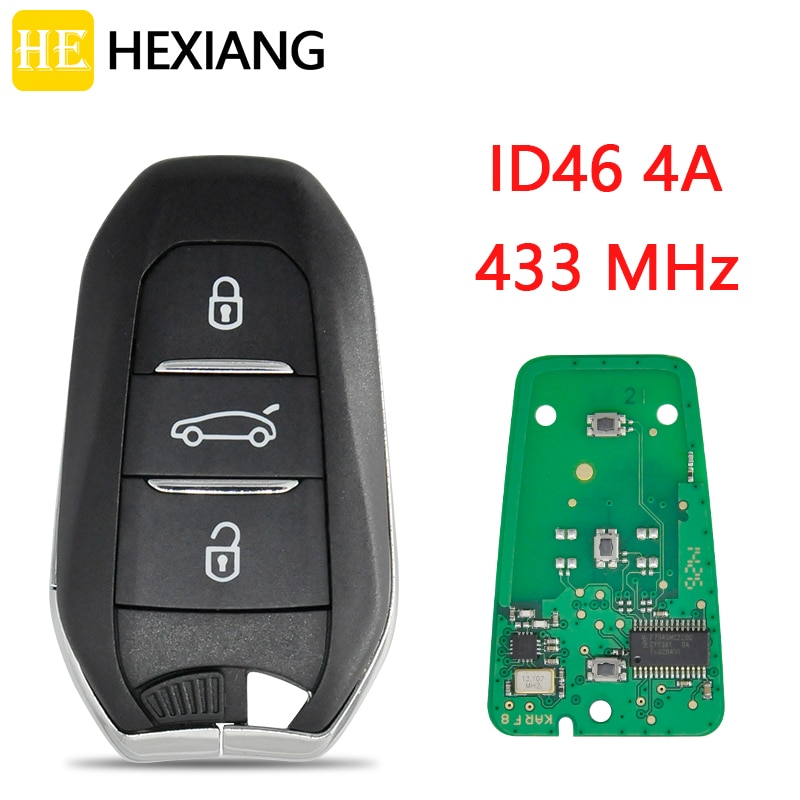 AliExpress - HE Xiang Car Remote Key For Peugeot 208 308 508 5008 Citroen C4 C4L DS4 DS5 433MHz ID46 4A Chip Keyless Entry Promixity Card