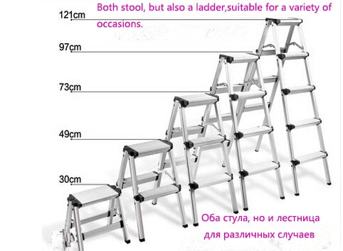 Hot!!Household folding  thickening aluminum alloy herringbone ladder multi-functional engineering step stool 5 colours Available