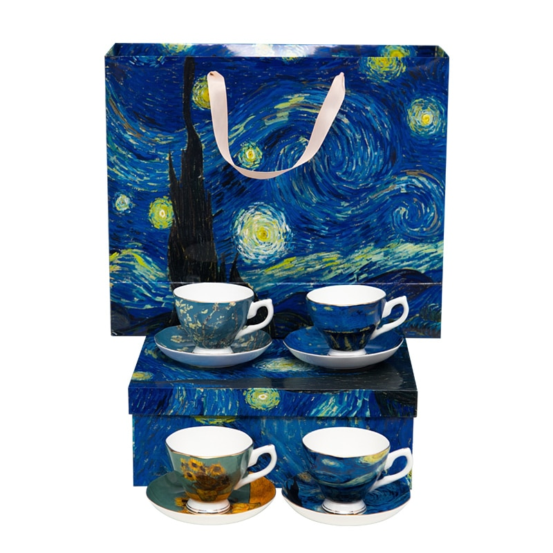 Van gogh pintura design cerâmica 4 pçs xícara de café e pires & conjuntos de xícara de chá cerâmica