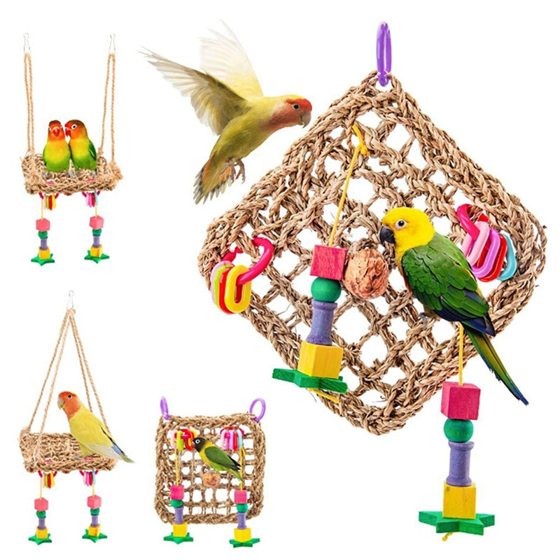 Parrot Toys Wood Birds Standing Chewing Rack Toys Bead Ball Heart Star Shape Parrot Toy Bird Toys Accessories Supplies