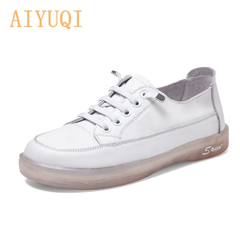 Women's Sneakers 100% Natural Genuine Leather Spring 2021 Retro Soft Soled White Shoes Women Fashion Flat Lace-up Loafers Women