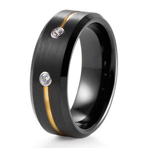 8mm Black Tungsten Wedding Band with Diamonds & Gold Groove Men's Brushed Tungsten Anniversary Ring Newest Engagement Ring