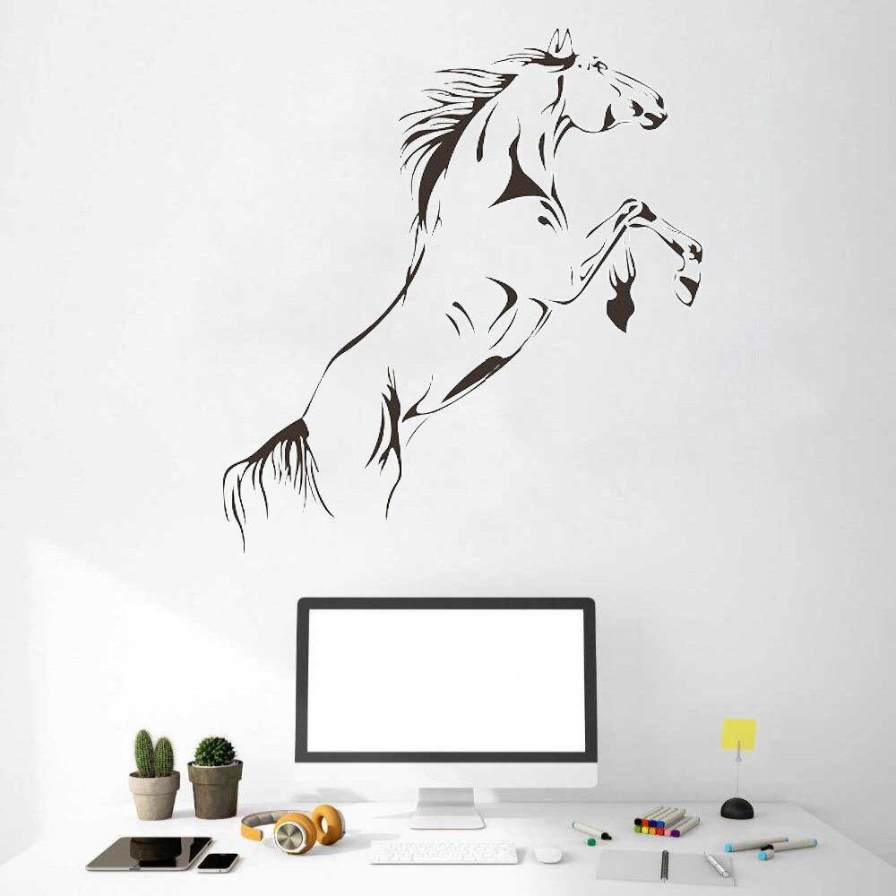 Etiqueta de pared negra tallada HDJWU, caballo saltarín, decoración del hogar para la sala de oficina, Mural artístico de animales, póster HD016