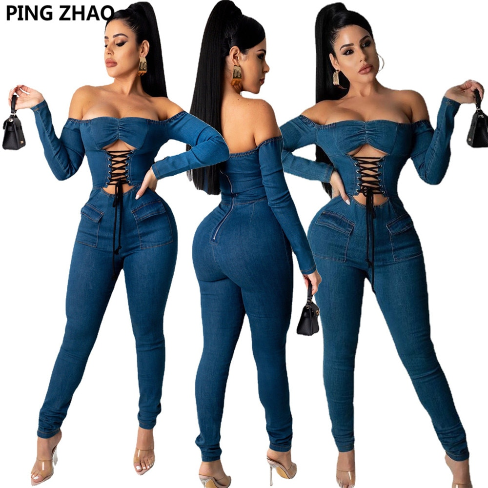 PING ZHAO Denim Jumpsuit for Women Sexy Club Partywear Lace Up Cut Out Off Shoulder Long Sleeve One