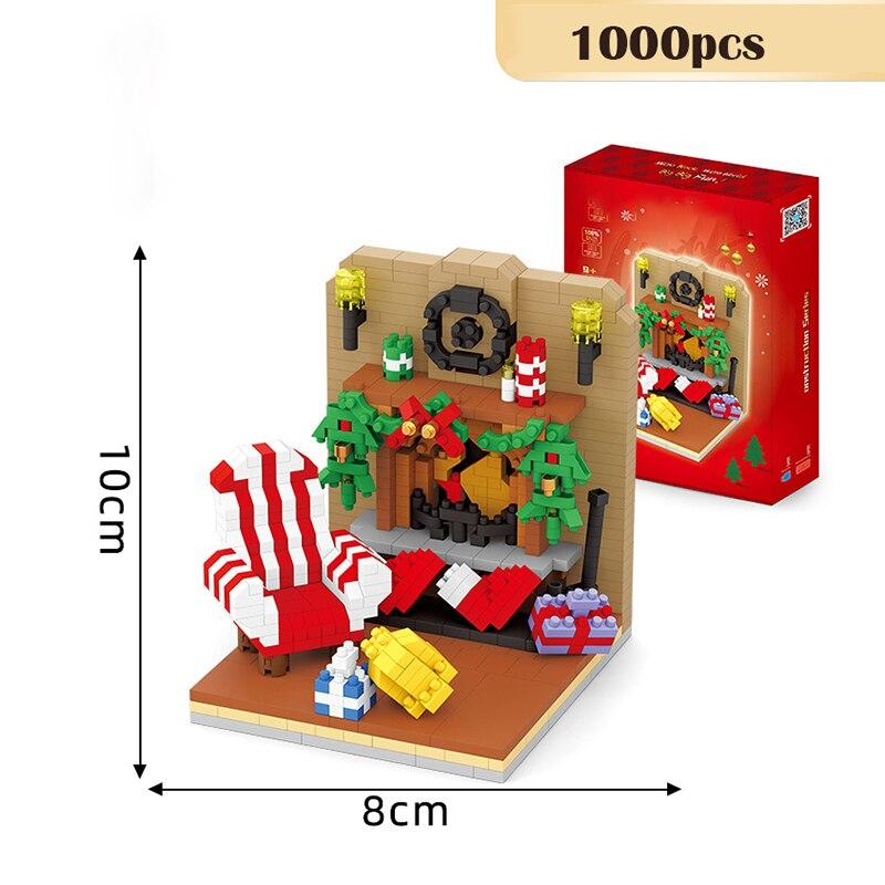Мини-строительные блоки, модель рождественской сцены в помещении, строительные блоки «сделай сам», алмазные частицы, сборные игрушки, детск...
