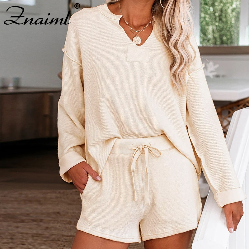 Znaiml New Fashion Tracksuit Long Sleeve V-Neck Tops And Shorts Sweatshirts 2 Piece Set Casual Sport Suit Women Tracksuit Set