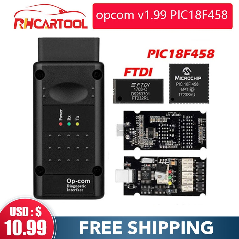 OP COM opcom V1.99 con real PIC18F458 FTDI FT232RL Chip OBD2 herramienta de diagnóstico OP-COM para Opel OPCOM v1.78 70 puede ser Actualización de flash