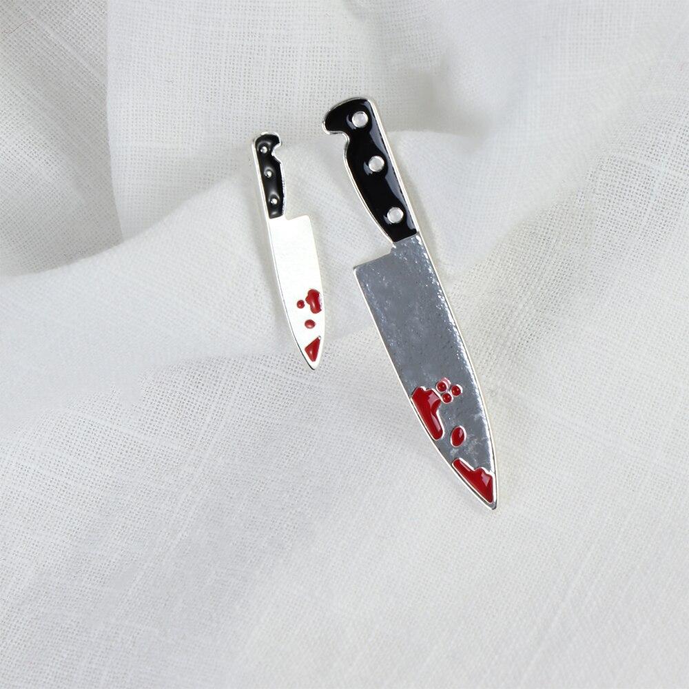 Nuevos aretes de tachuela de sangre con cuchillo divertido para mujeres personalidad Punk Brincos de Hippop para fiestas joyas de regalo a la moda