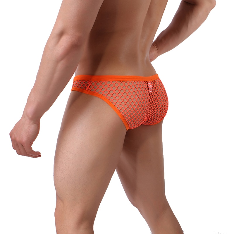 Сексуальные мужские ажурные прозрачные трусики-брифы мужские сетчатые трусы с мешочком для пениса мужские трусы