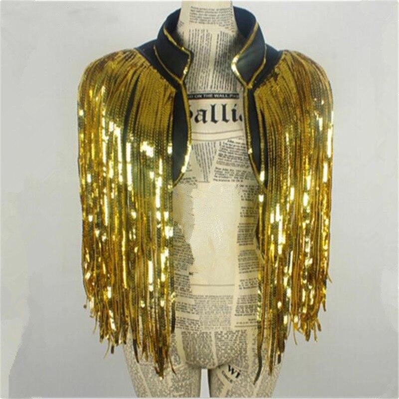 معطف ذهبي مع شرابات وسترة ، بدلات رقص ، مغني الكريسماس ، ملابس مسرح ، سترة مطرزة فوق الأداء ، حفلة بار